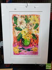 Sale 8478 - Lot 2064 - Ratlee Hart, Still Life Vase of Flowers, Oil on Paper, SLR, 57x38cm