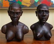Sale 8677B - Lot 534 - Two African carved timber busts marked taller 28cm (damage)