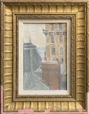 Sale 8678 - Lot 2013 - Daniel Pata, Window View of Paris, oil on canvas laid on board, 34.5 x 27cm, signed lower right