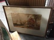 Sale 8767 - Lot 2005 - W Burton - English Country Cottage Scene watercolour and bodycolour, 57 x 74.5cm (frame), signed lower left