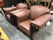 Sale 8868 - Lot 1578 - Pair of Art Deco Leather Club Chairs with Studded Trim to Back