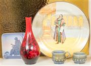 Sale 8976H - Lot 30 - A small group of Royal Doulton, B&g and Wade including a flambe vase, diameter 26cm