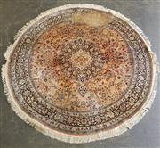 Sale 8979 - Lot 1084 - Kashmiri Silk Round Carpet (faults, D:190cm)