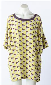 Sale 9003F - Lot 65 - A Missoni grey, purple and yellow geometrical short sleeve blouse, size 46
