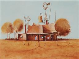 Sale 9125 - Lot 506 - Eris Fleming (1943 - ) Outback Homested oil on board 29.5 x 39.5 cm (frame: 53 x 63 x 5 cm) signed lower right
