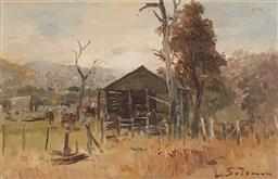 Sale 9133 - Lot 590 - Lance Solomon (1913 - 1989) Cattle Yards oil on board 21.5 x 33.5 cm (frame: 37 x 48 x 2 cm) signed lower right