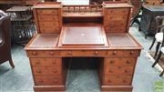 Sale 8375 - Lot 1039 - Early C20th Cedar Twin Pedestal Desk, stamped Raphael & Co., Late Lenehan & Co. Upholsterers, Sydney