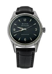 Sale 8406A - Lot 74 - Fine vintage Bulova 23 jewel self winding automatic wristwatch, black dial in polished stainless steel case, 33mm, in working order