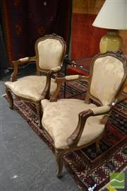 Sale 8480 - Lot 1179 - Pair of French Style Carver Chairs