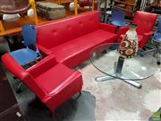 Sale 8625 - Lot 1015 - Vintage Red Vinyl Three Piece Lounge Suite incl. Pair of Armchairs and Click Clack Sofa