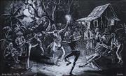 Sale 8652A - Lot 5055 - Dermot Louison (1933 - ) (Trinidad) - Bongo Dance, West Indies, c1970 25 x 45cm