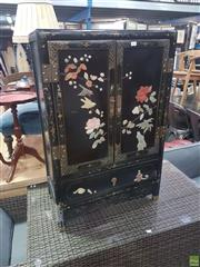 Sale 8648C - Lot 1071 - Ebonised Oriental Cabinet with Two Doors