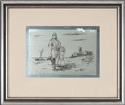 Sale 8759 - Lot 2050 - Sir Russell Drysdale Countryman and Daughter etching on silver plate (Franklin Mint) 14 x 19.5cm, signed in plate -
