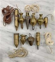Sale 8951P - Lot 340 - Good Collection of 10 Brass Archatects Plumb Bobs (largest 8cm)