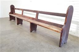 Sale 9146 - Lot 1011 - Hardwood church pew (h:109 x w:393cm)