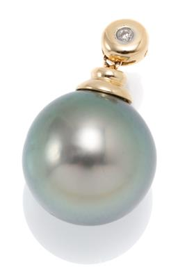 Sale 9160 - Lot 391 - A TAHITIAN PEARL AND DIAMOND PENDANT; 14mm round cultured pearl of fine colour and lustre on an 18ct gold surmount and bail set with...