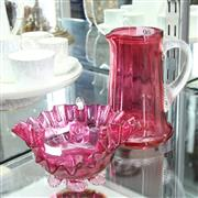 Sale 8336 - Lot 90 - Ruby Glass Jug with a Frilled Handled Dish
