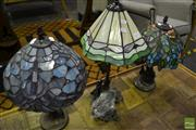 Sale 8472 - Lot 1017 - Three Varied Leadlight Shade Table Lamps