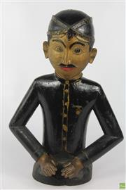 Sale 8608 - Lot 14 - Vintage Carved Polychrome Figure Of An Indonesian Man With Medal