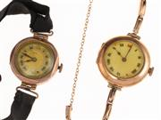 Sale 8837 - Lot 308 - LADYS VINTAGE GOLD ROLEX WRISTWATCH AND ANOTHER; 15ct Rolex with white dial, Roman numerals, 15 jewel movement signed Rolex, case si...