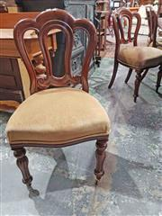 Sale 8939 - Lot 1056 - Assembled Set of Eight Victorian Mahogany Admiralty Dining Chairs, with mushroom velvet seats & turned reeded legs. H: 89.5, W: 48,...