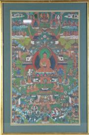 Sale 8972 - Lot 32 - Framed Tibetan Thangka (frame size 57cm x 38cm)