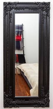 Sale 8990H - Lot 86 - An Ornately framed and black painted rectangular mirror, Height approx 180cm x Width 78cm