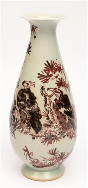 Sale 8994H - Lot 38 - Oriental vase with iron red decoration - height 31cm