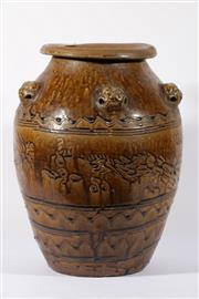Sale 9003C - Lot 622 - Brown Glazed Chinese Earthenware Vase with Lion Decoration to Shoulder (H: 50cm)