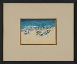 Sale 9155 - Lot 2089 - DONALD FRASER (1929 - 2009) Beach Scene oil on board 17 x 24 cm (frame: 45 x 55 x 2 cm) signed lower left