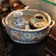 Sale 8351 - Lot 89 - Large Handpainted Japanese Footbath with 2 Vases