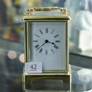 Sale 8379 - Lot 42 - Vintage French Brass Carriage Clock
