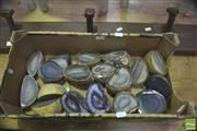 Sale 8406 - Lot 1031 - 9 Pair Split Polished Agate Geodes