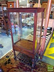 Sale 8539 - Lot 1087 - Chinese Fruitwood Full Display Cabinet, later electrified with single door, drawer below, and lattice shelf on turned legs, H 159 x...