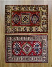 Sale 8559C - Lot 59 - 2 x Afghan Kazak Rugs 90cm x 60cm