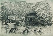 Sale 8622 - Lot 2043 - Cedric Emanuel (1906 - 1995) - Berowra Boatshed 29.5 x 44.5cm