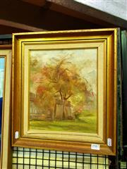 Sale 8636 - Lot 2024 - Betty Osborne The Red Bush Fire oil on board, 41 x 36cm (frame) signed lower left