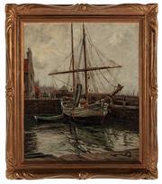 Sale 8871H - Lot 143 - WILL ASHTON (1881 - 1963) - Port Scene, France 60x50cm