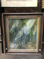 Sale 8861 - Lot 2034 - Barry Skinner - Grey Fantails 1974oil on board, 60 x 55cm (frame), signed