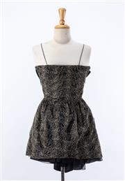Sale 8891F - Lot 25 - A Konstantina Mittas gold lamé and silk mini dress with a mesh underskirt and spaghetti straps, size 8