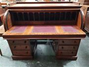 Sale 8939 - Lot 1021 - Victorian Mahogany Twin Pedestal Cylinder Desk, with gallery top & fitted interior, slide-out drawer with red leather inserts & cent...