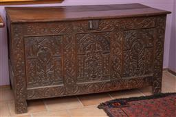 Sale 9120H - Lot 74 - An antique oak carved coffer with hinged lid, Height 78cm x Width 135cm x Depth 62cm
