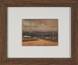 Sale 9155 - Lot 2003 - KEVIN OXLEY (1941 - ) Counter Township oil on board 10 x 13.5 cm (frame: 25 x 29 x 3 cm) signed lower left