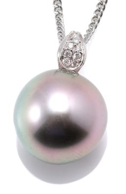Sale 9160 - Lot 397 - A TAHITIAN PEARL AND DIAMOND PENDANT; 13.5mm round fine cultured pearl with high lustre on an 18ct white gold bale set with 8 round...