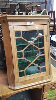 Sale 8375 - Lot 1077 - Rustic Pine Hanging Corner Cabinet, with astragal door