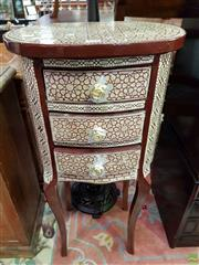 Sale 8580 - Lot 1070 - Mother of Pearl Inlaid Side Table with Three Drawers (80 x 40 x 30cm)