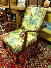 Sale 8648 - Lot 1025 - Vintage Armchair with Rooster Upholstery