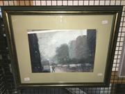 Sale 8776 - Lot 2058 - Mike Barr - Raining Day in Adelaide oil on canvas, 45 x 55cm (frame), signed -
