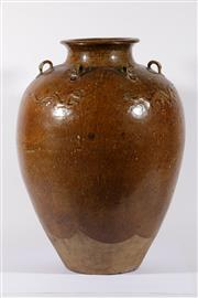 Sale 9003C - Lot 621 - A Large Chinese Earthenware Vase with Glazed Dragon and Lubs to Shoulder (H: 67cm)