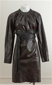 Sale 9081H - Lot 47 - A Scanlon & Theodore longsleeve dress in black leather with long tie belt, size 10